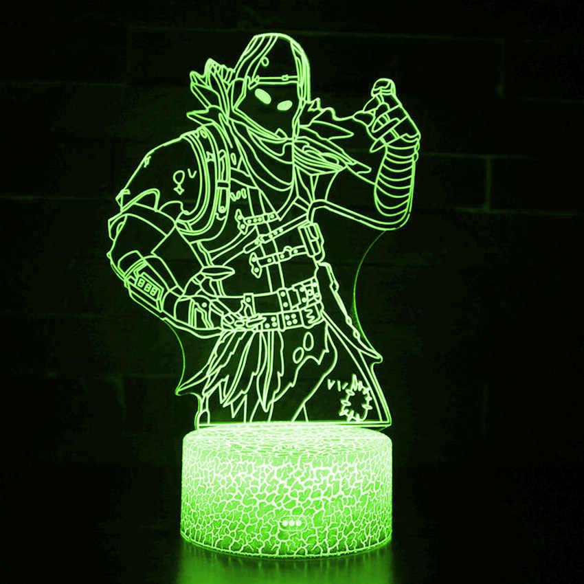 3D אשליה קרב רויאל דמויות מנורת רייבן אומגה צלמית אור ילדים שינה Lampen הטוב ביותר צעצועי חג המולד מתנות