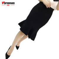 Autumn High Waist Skirts Fashion Knee Length Pleated Elegant Skirts Womens Solid Slim Fit Trumpet Saxy Ladis Mermaid Midi Skirt