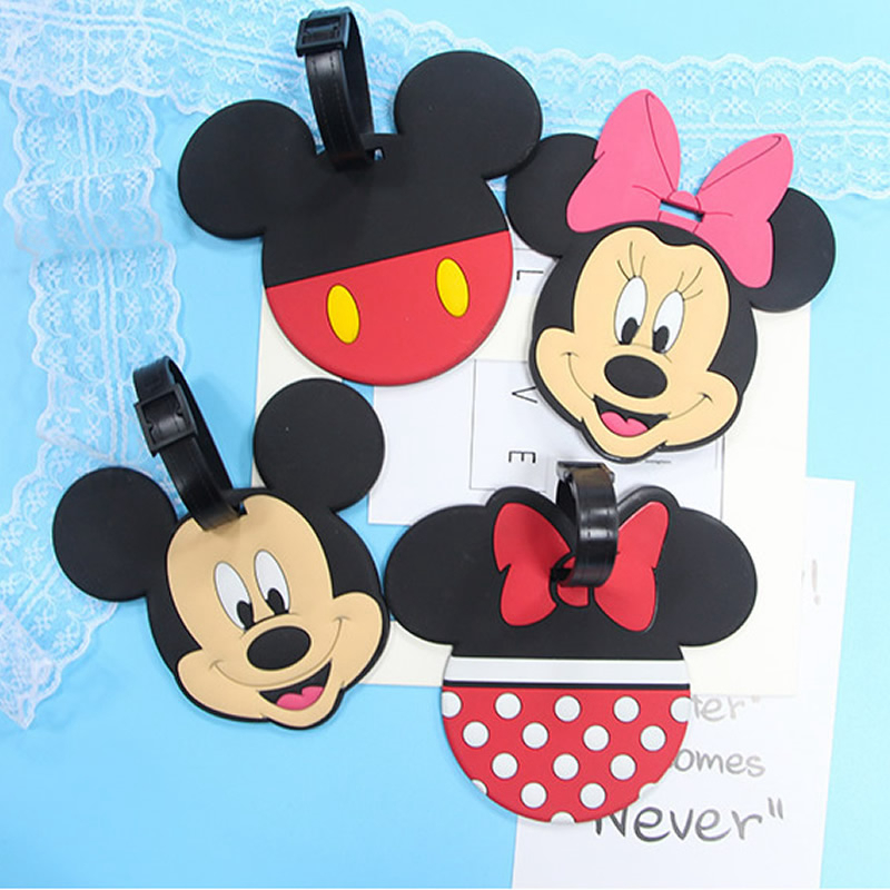 Cartoon Minnie Mickey Silica Gel Luggage Tag Women Portable Label Suitcase Address Holder Baggage Boarding Travel Accessories