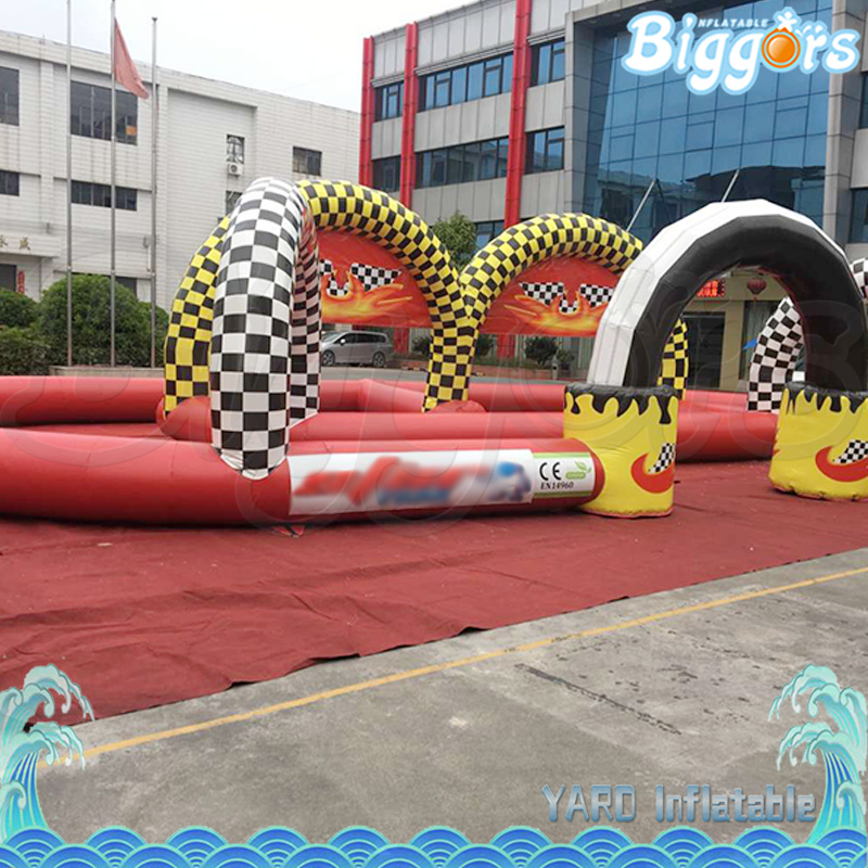 Commercial Grade PVC Sport Toy Inflatable Air Track Go Kart Race Track kids play outdoor sports games go kart race air track for balls inflatable race track