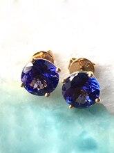 """טבעי tanzanite עלה זהב עגיל, 18 k עלה זהב, נדיר tanzanite ב עגול 6 מ""""מ * 6 מ""""מ, סגנון קלאסי, אופנה ופופולרית"""