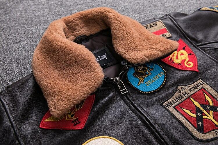 2019 Brown Men TOP GUN Pilot Leather Jacket Wool Collar Plus Size XXXL Genuine Cowhide Winter Russian Aviator Coat FREE SHIPPING