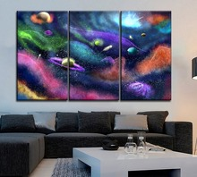 Modern Artwork 3 Panel Sci Fi Abstract Planet Space Universe HD Picture Canvas Print Painting For Bedroom Wall Home Decor Poster