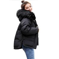 2018 Real New Arrival Down Jacket Winter Jacket Women Single Full Slim Hair Cotton padded Clothes Big Jacket Coat