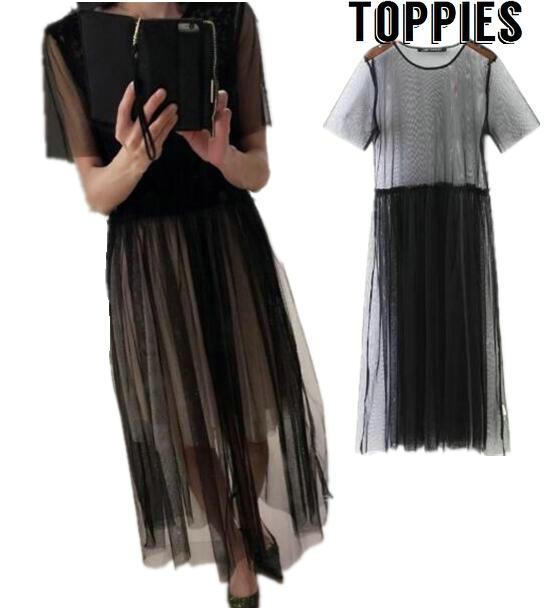 ca1bf1de5 Robe vestido sexy para as mulheres Transparente Ver Através vestido vestido  longo de Malha vestidos vestido preto Voile chic one piece DS020 em Vestidos  de ...