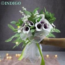 INDIGO-White Convallaria Bouquet Purple Heart Calla Bride Wedding Plastic Flower Event Table Centerpiece Free Shipping