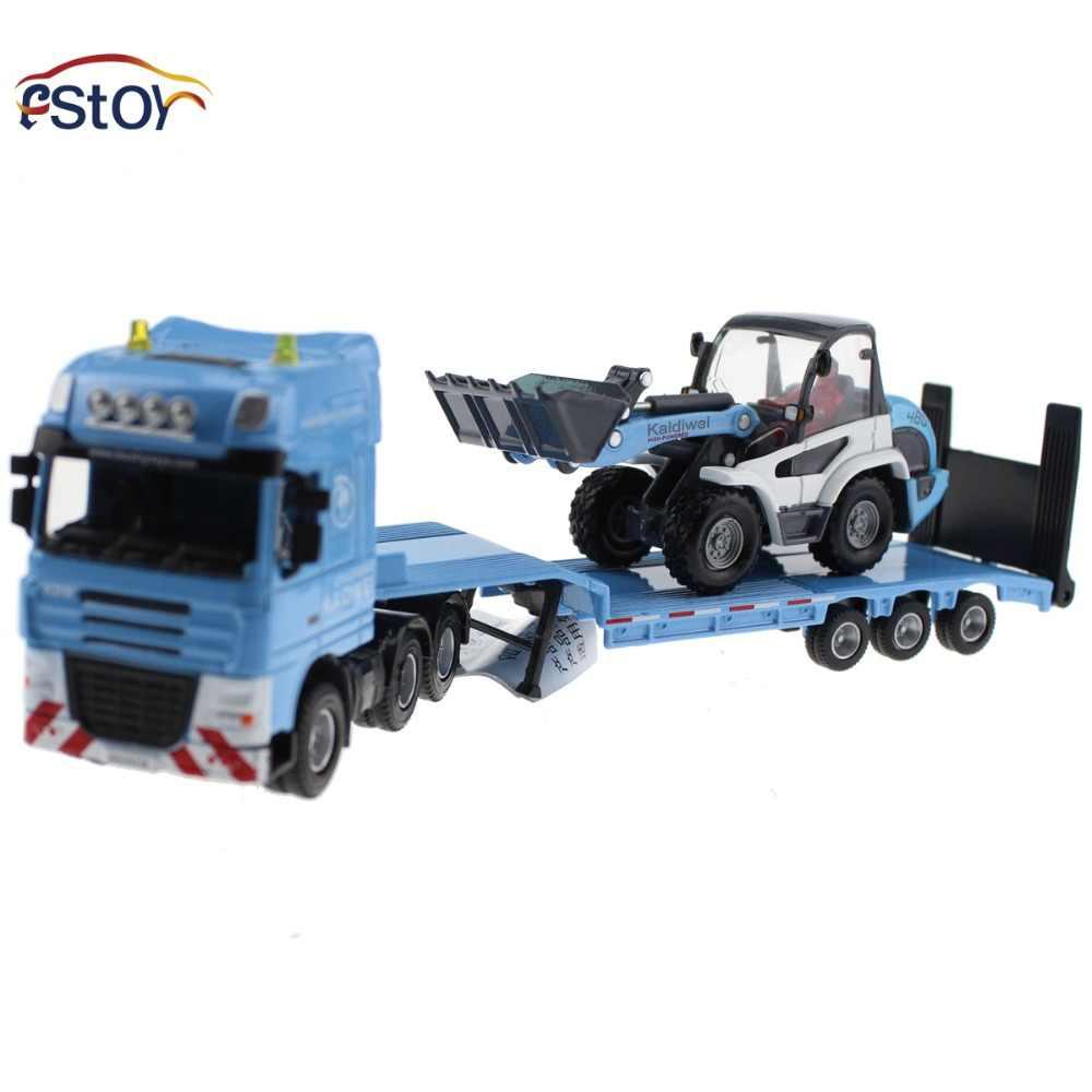 Flatbed trailer truk dengan mini Buldoser model 1:50 paduan Diecast kendaraan Truk mobil Rekayasa hadiah mainan Untuk Anak-anak
