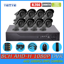 Residence Surveillance Equipment eight channel Full AHD 1080P DVR 2000TVL 8pc 1080P 2.0MP Outside Safety HD AHD Cameras 8ch CCTV System