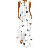Хит продаж, женское винтажное повседневное платье, без рукавов, в полоску, с принтом бабочки, летнее платье, халат, Longue Robe Femme 2019 #35