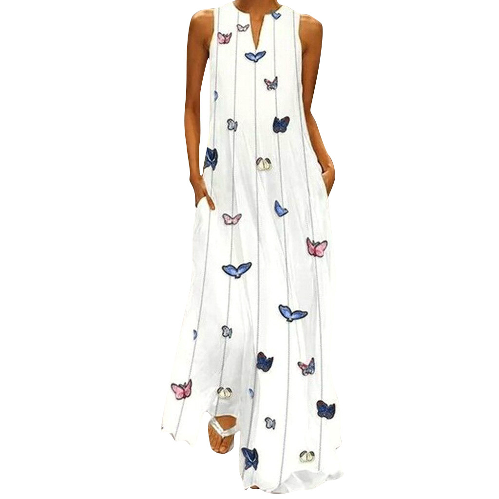 Hot Sell Women Vintage Daily Dress Casual Sleeveless Striped Butterfly Printed Summer Dress Robe Longue Robe Femme 2019 #35