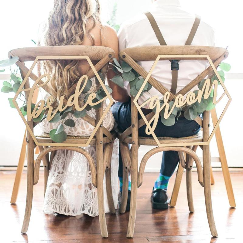 Silla de madera Banner sillas signo DIY boda decoración para compromiso boda fiesta suministros novia y novio/Mr & Mrs /mejor y juntos 36
