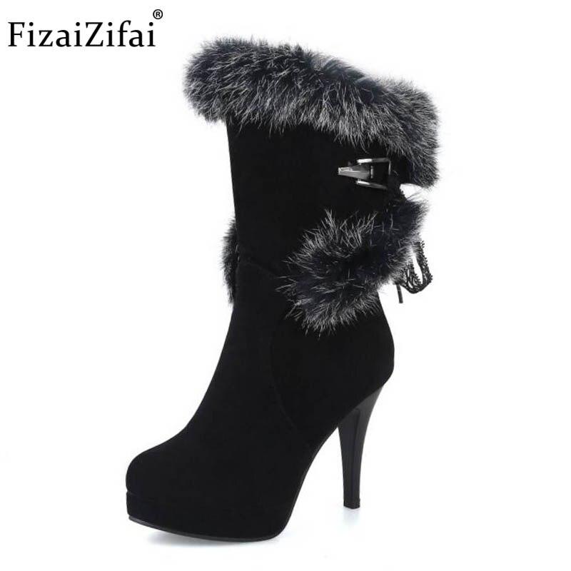 Coolcept taille 32-43 femmes demi-bottes courtes à lacets plate-forme bottes à talons hauts chaussures de fourrure chaude en hiver froid Botas chaussures pour femmes