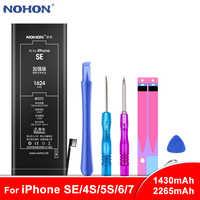 NOHON batería para iPhone SE 4S 5S 6 7 Bateria para iPhone6 iPhone7 de Max Capacidad de polímero de litio de Batarya + herramientas libres