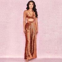 New Fashion Summer Hot Sale Velvet 2 Piece Set Jumpsuit Top Quality V Neck Design Party Women Jumpsuits Show Clothing Wholesale