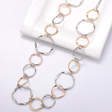 Long Simple Big Circle Chain Necklace Gold Silver Mix Colour Elegant Charm Long Sweater Chain Necklace For Women Kolye Jewelry elegant paint brush shape sweater chain for women