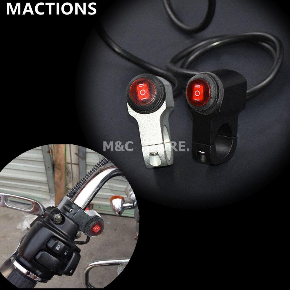 Водонепроницаемый руль для мотоцикла 7/8 '', 22 мм, противотуманная фара, Кнопка ВКЛ./ВЫКЛ., 12 В, 16 А, черный и хромированный