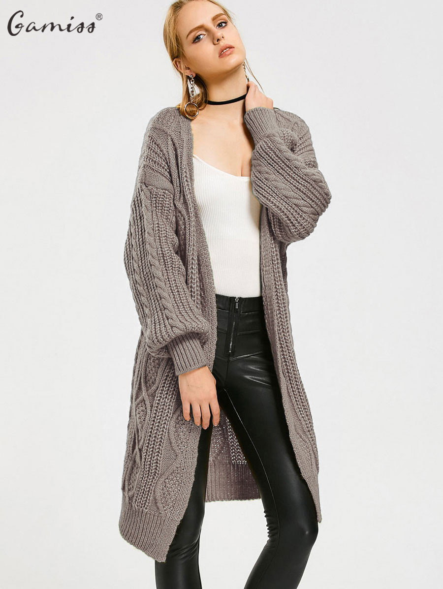 Gamiss Women Long Cardigans Sweater Cable Knit Loose Open Front ...