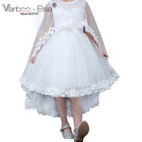 VARBOO ELSA New Arrive White Tulle Shawl Children Gowns Beaded Appliques Sweet Little Princess Dress Custom