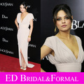 Mila Kunis marfil vestido de noche estreno de cisne negro Red Carpet Cap manga de gasa de la celebridad Formal largo del vestido con hendidura
