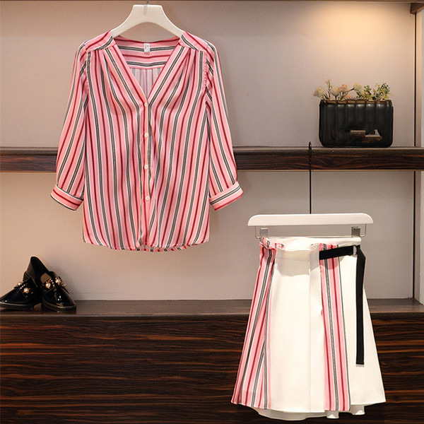 Plus size L-4XL Women Casual Skirt 2 Piece set Striped V-neck Single Breasted Shirt and Patchwork Skirt Suits Work Wear 2