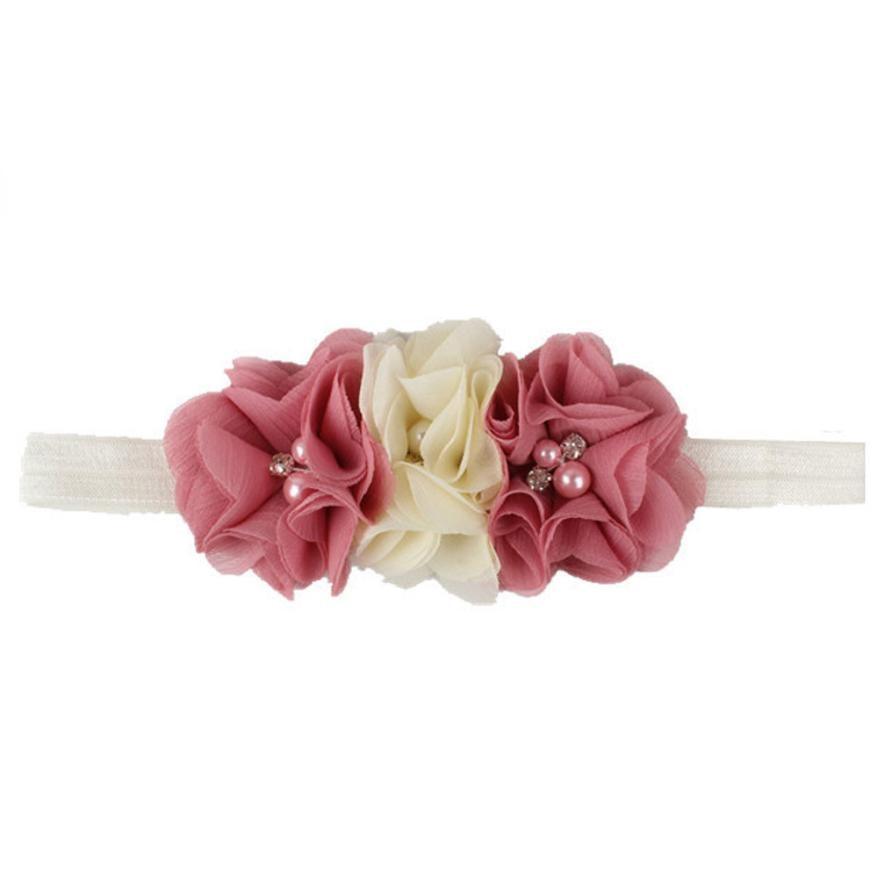 Fashion TELOTUNY 2018 1PC Kids Baby Pearl Flower Hair Wear Chiffon Band Headband For Girls Headwear FEB1 кастрюля oursson ca 2402 c or