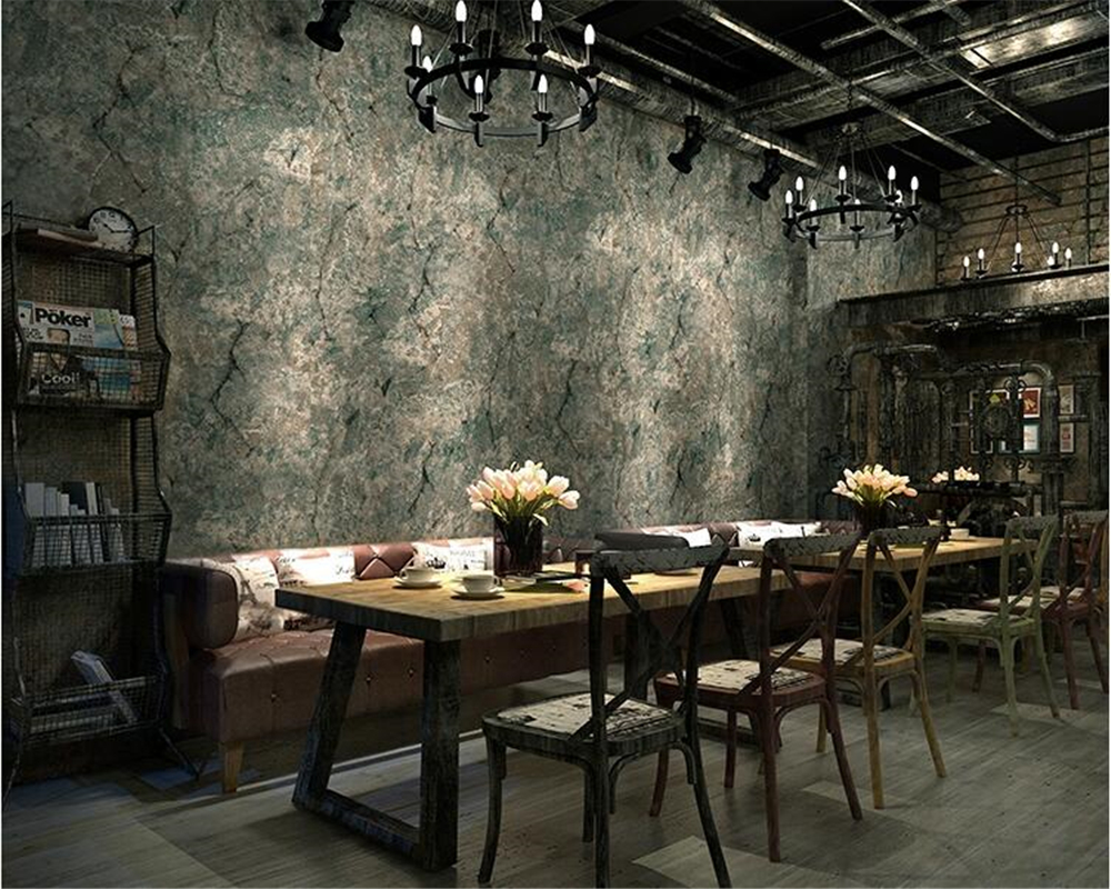 beibehang Retro style industrial solid wall paper clothing store one to do the old cement crack PVC papel de parede 3d wallpaper beibehang papel de parede american retro wood to do the old wooden letters tower wallpaper bar cafe clothing personality striped