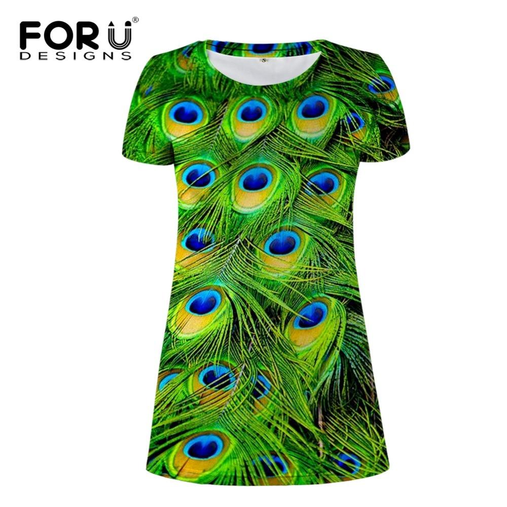 FORUDESIGNS Women Dresses 3D Peacock Plume Summer Casual Short Dress Cool Design Ladies Pencil Dress Slim