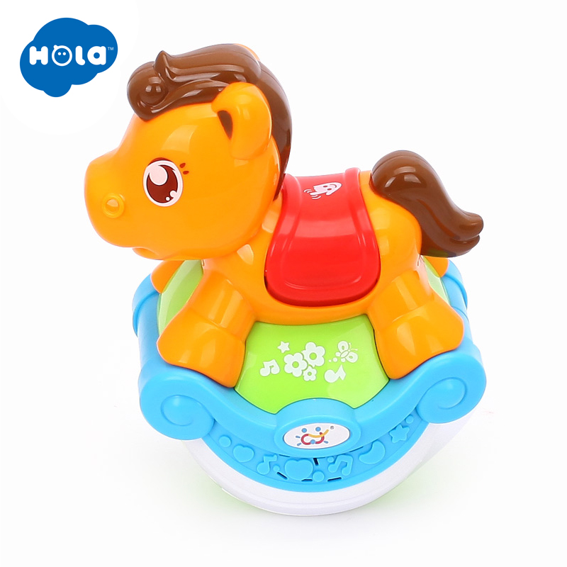 HOLA 3105B Baby Toys Sliding Horse With Cheering Songs & 3 Models & Flashing Lights & Funny Sound For Toddler 6 Months