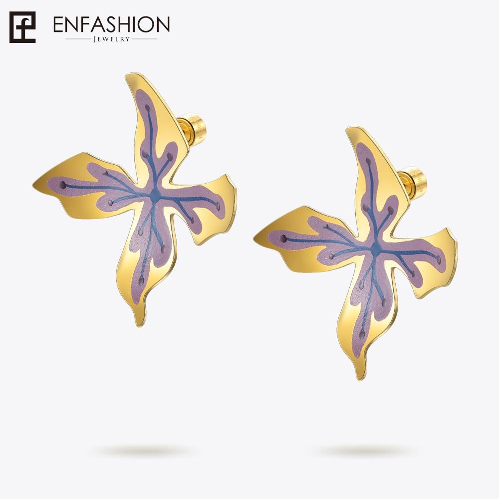 Enfashion Lacquer Art Series Wisteria Stud Earrings Big Gold Color Earrings for Women Earings oorbellen EBQ18LA59 pair of stylish rhinestone alloy stud earrings for women