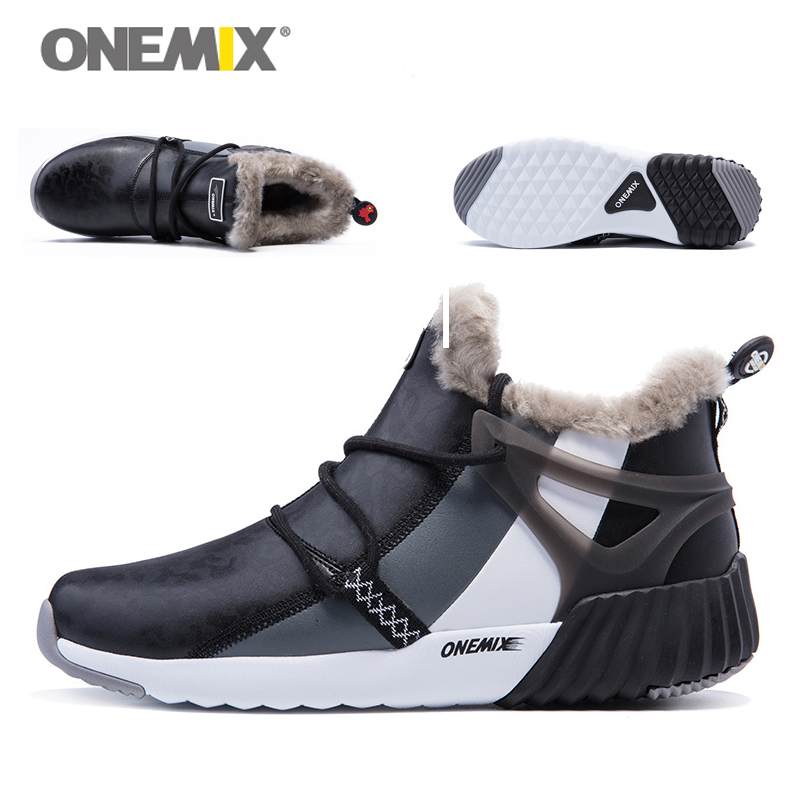 ONEMIX New Winter Men's Boots Warm Wool Sneakers Outdoor Unisex Athletic Sport Shoes Comfortable Running Shoes Sales 17