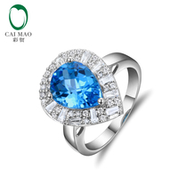 14k White Gold 5.34ct Natural Flawless Blue Topza Diamond Ring Resizable Wholesale Jewelry
