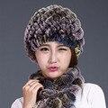 Sombreros Para Las Mujeres Invierno 2016 Nueva Moda de Piel de conejo Natural franja de Punto Gorros Sombreros Sombreros Gorras Dama Hembra de Piel Genuina sombrero
