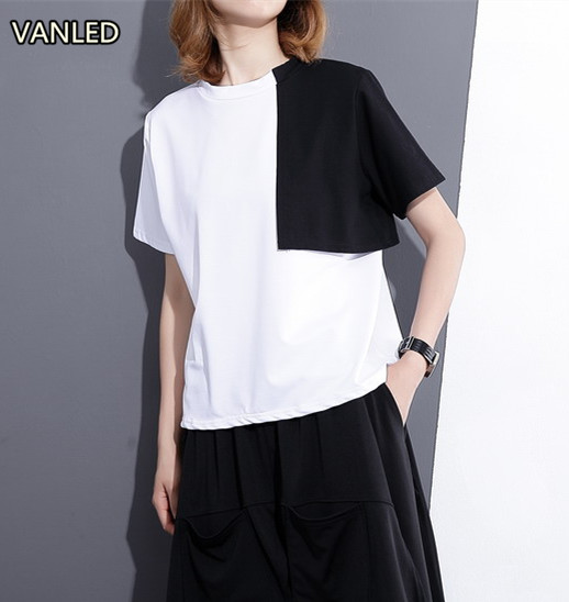 Summer Color Patchwork Women Loose T-shirt Female Short Sleeve Color Spliced Tee