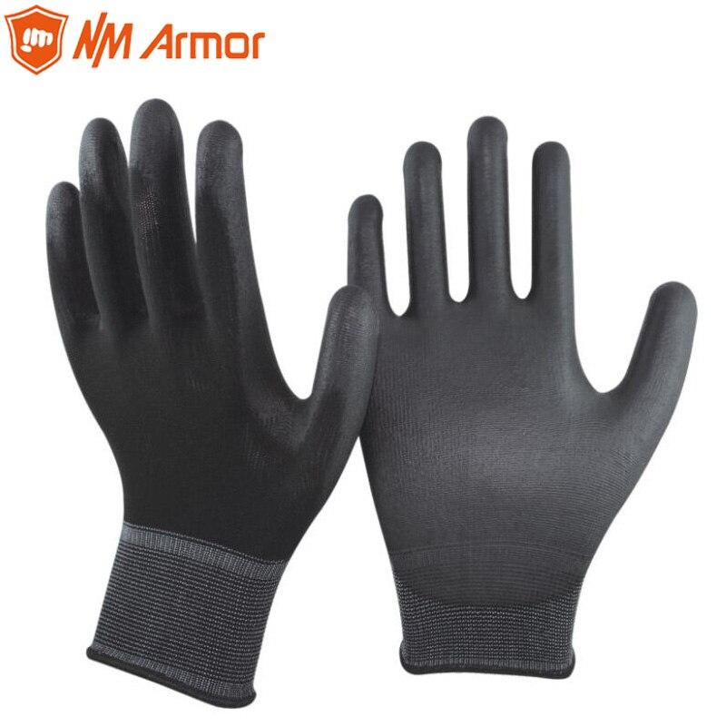 Gants antistatiques électroniques enduits de Nylon noir et PU NMArmor