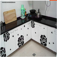1sets chrysanthemum flowers of Magnolia cabinet paste restaurant kitchen glass wardrobe furniture with decorative wall stickers