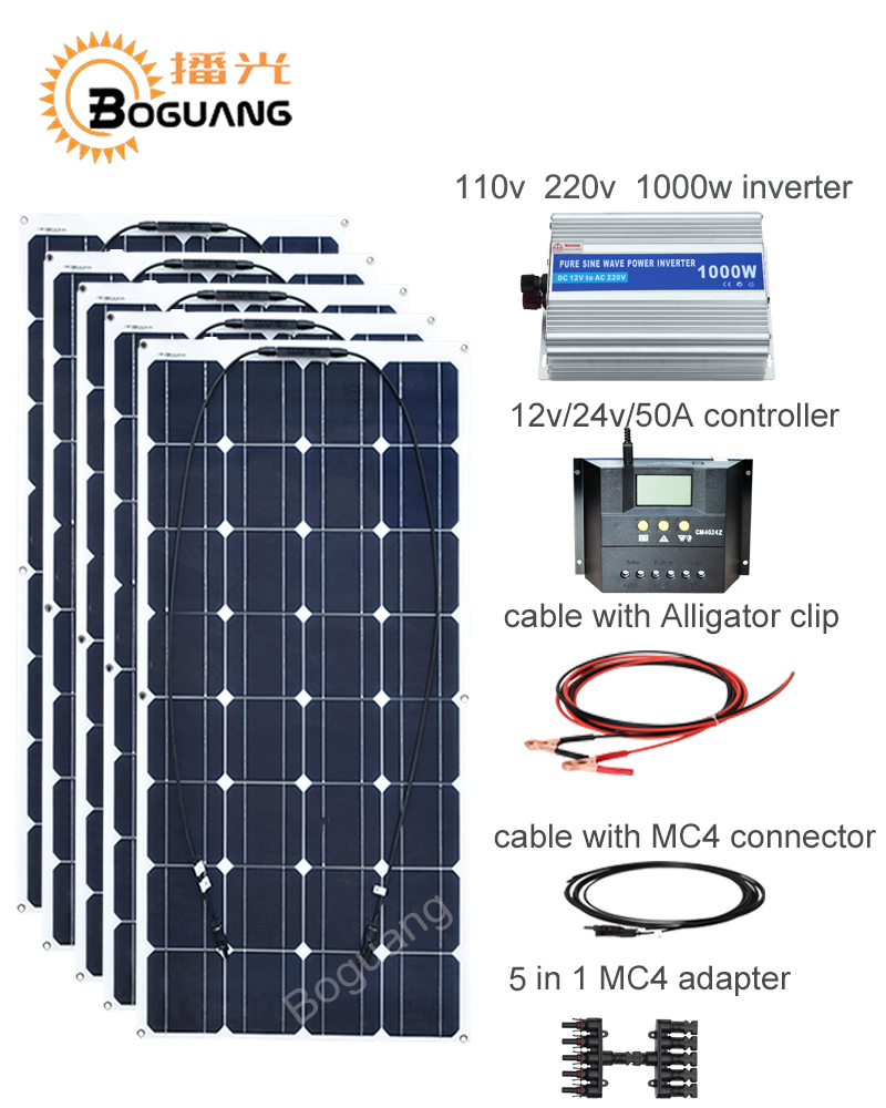 Boguang 100w solar panel 50A controller cable MC4 connector adapter 500w solar DIY kit system for 12v battery RV yacht car power boguang 40w flexible solar panel mc4 connector high efficiency solar cell solar module for rv boat yacht motor home car