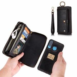 Image 1 - ארנק Wristlet טלפון מקרה עבור coque huawei p30 פרו לייט nova4e אופן בסיסי Etui יוקרה עור מגן ארנק טלפון מעטפת כיסוי תיק
