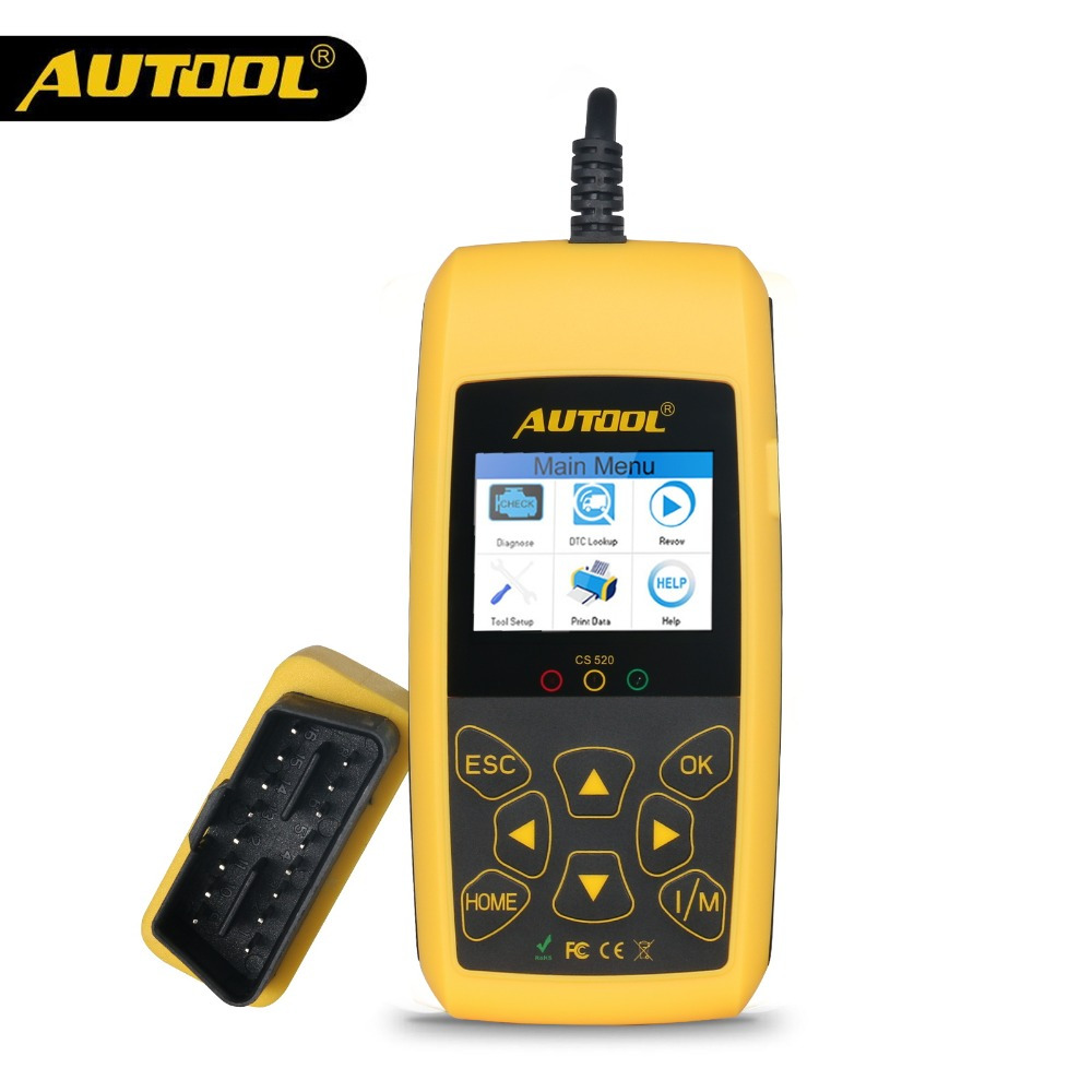 AUTOOL CS520 OBD2 Scanner Automotive Car OBDII Code Reader CANBUS Auto Scan Digital Diagnostic Tool LED Dispaly Key DIY PK AD410