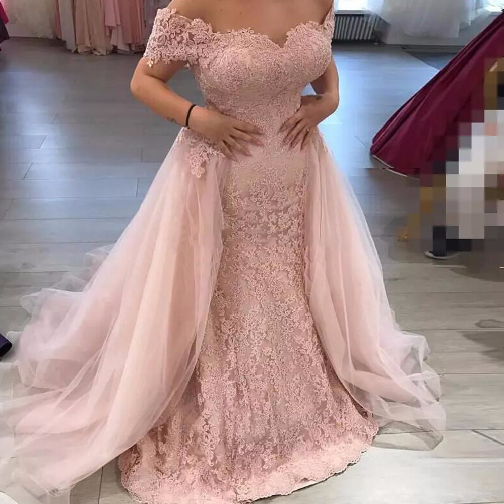 Pink Muslim   Evening     Dresses   2019 Mermaid Sweetheart Tulle Appliques Islamic Dubai Saudi Arabic Long   Evening   Gown Prom   Dress