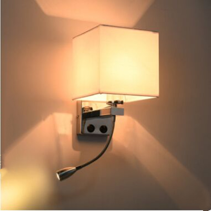 Simple Fabric Tall Wall Light: Modern Simple Hotel Room Bedroom Rotating Wall Lamp With