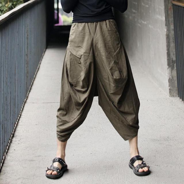 Hombres pantalones de lino 2016 nuevo grande loose pantalón para hombre de algodón de lino pantalones pantalones largos de hombre de gama alta de encargo pantalones harem