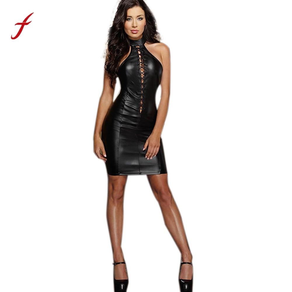 feitong new black dress fashion faux leather dance club
