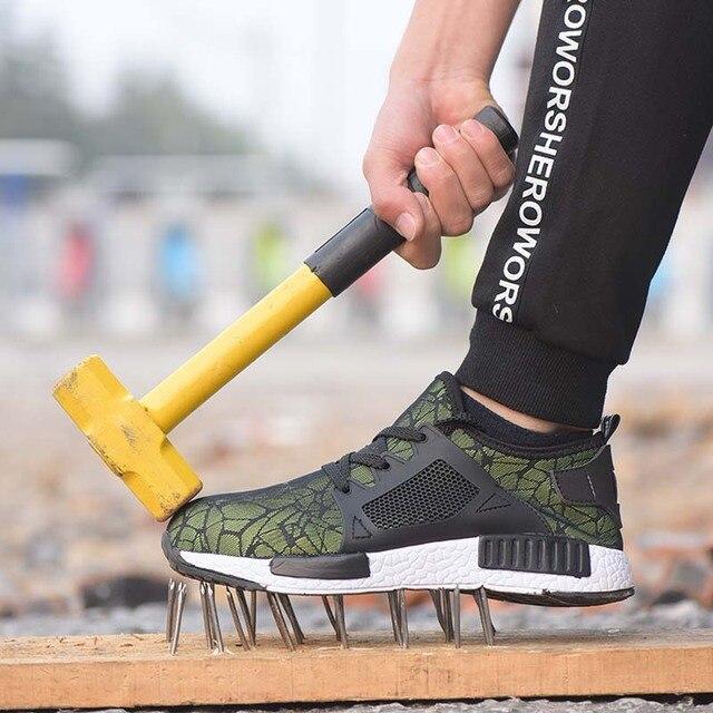 Новая выставка 2019 легкая Мода дышащая защитная обувь мужчины стальной носок анти-разбив тапки рабочие защитные сапоги 35-46 4