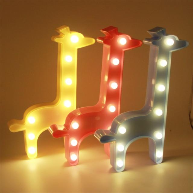 Cute Giraffe Night Light Baby Room Sleeping Bedroom Desk Lamp For Gifts Wedding Birthday Party Home Decoration