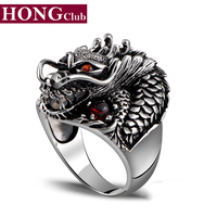 2016 New Arrival Rock Dragon Inlaid Rubies Fashion Ring 100 Real 925 Sterling Silver Jewelry For