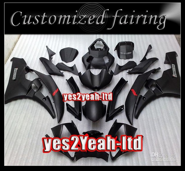 Body for YZF R6 06-07 YZF-R6 YZFR6 YZF 600 YZF600 YZF R 6 06 07 2006 2007 black ABS fairing kit+gift