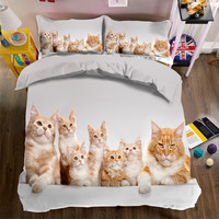 2017 bedding Cute cat bedding set 3d bed linen duvet cover bed sheet pillowcases full/twin/queen double size bed