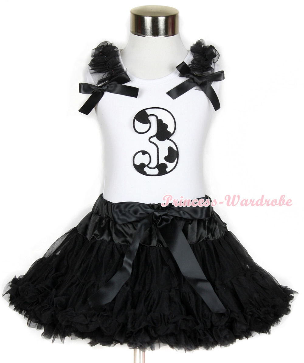 Halloween White Tank Top with 3rd Milk Cow Birthday Number Print with Black Ruffles & Black Bow & Black Pettiskirt MAMG683 white tank top with 5th birthday number minnie with minnie dots ruffles