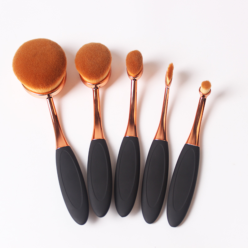 5pcs Oval Makeup Brush Set Professional Foundation Eyeliner Powder Cosmetics Toothbrush Makeup Brushes Tools Set Eyeshadow Brush