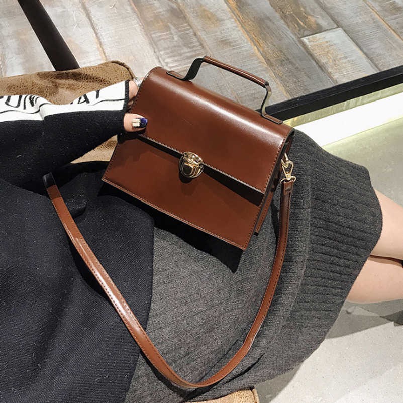 5650f4f06f 2018 Women Briefcase Vintage European PU Leather Shoulder Messenger Lady  Cross body Purse Satchel Tote Bag